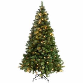 image-Multi-Function 6ft Green Spruce Artificial Christmas Tree with 200 Clear/White lights with Stand Three Posts