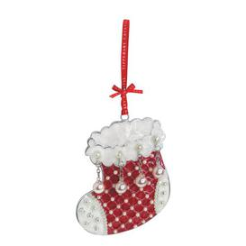 image-Tipperary Crystal Pearl Stocking Christmas Holiday Shaped Ornament Tipperary Crystal
