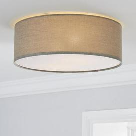 image-Sara 38cm Grey Shade Flush Ceiling Fitting Grey and Brown