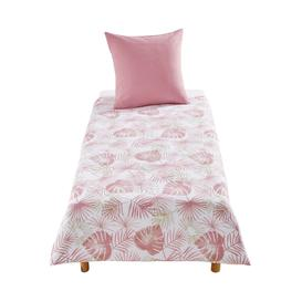 image-Children's White Cotton Palms Print Bedding Set 140X200