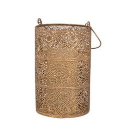image-Gold Etched Metal Lantern