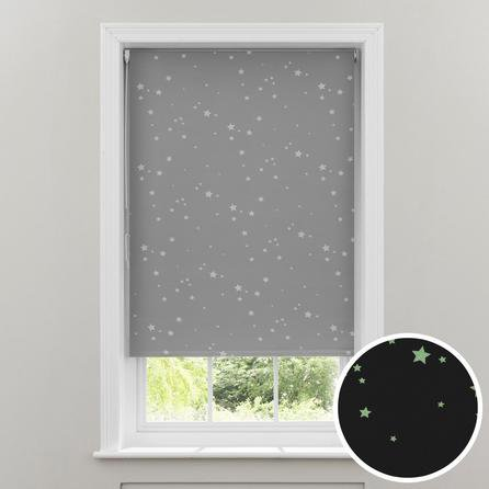 image-Glow in the Dark Stars Cordless Blackout Roller Blind Grey