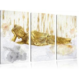 image-Golden Buddha on a Towel 3 Piece Graphic Art Print Set on Canvas East Urban Home