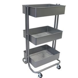 image-3-Tier Storage Utility Cart Symple Stuff Finish: Grey