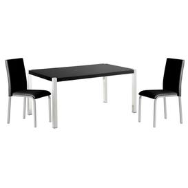 image-Nella Black High Gloss Dining Table With Chrome Legs