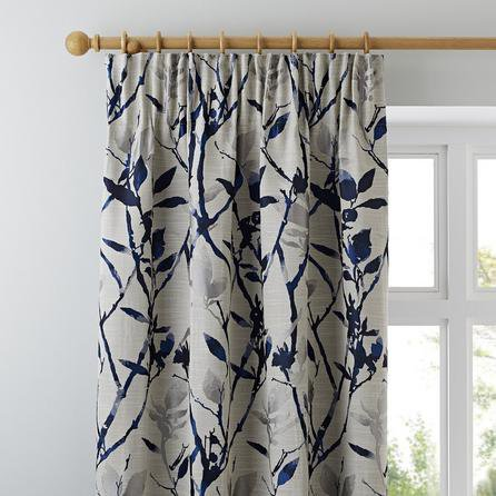 image-Zen Jacquard Blue Pencil Pleat Curtains Blue