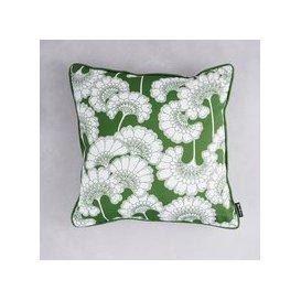 image-Florence Broadhurst Japanese Floral Cotton Cushion (colour: Grass, size: 40x40 cm)