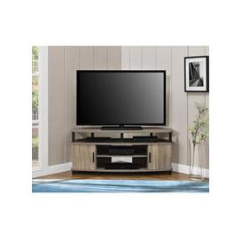 image-Carson Wooden Corner TV Stand In Distressed Grey Oak