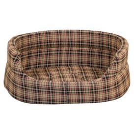 image-Classic Check Slumber Pet Bed in Brown Danish Design Size: 45 cm