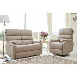 image-Vauxhall Electric Recliner Chair And 2 Seater Sofa Suite In Pebble