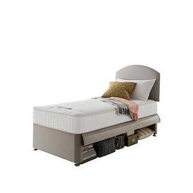 image-Silentnight Maxi Store Divan Bed Set With Kids Sprung Matress And Headboard - Sandstone