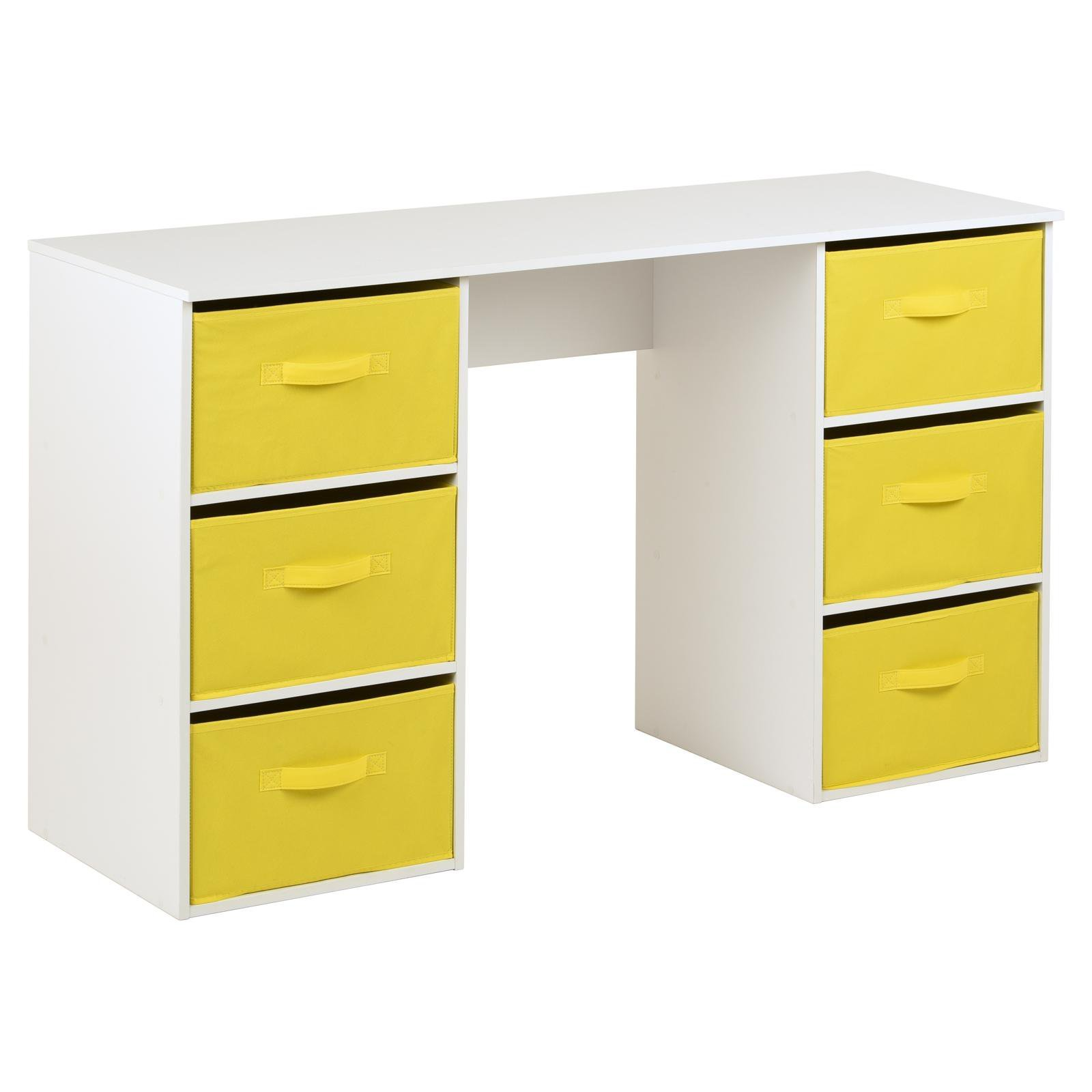 image-Hartleys Kids White Storage Desk & 6 Handled Box Drawers - Yellow
