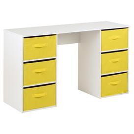 image-Hartleys Kids White Storage Desk & 6 Handled Box Drawers - Yellow