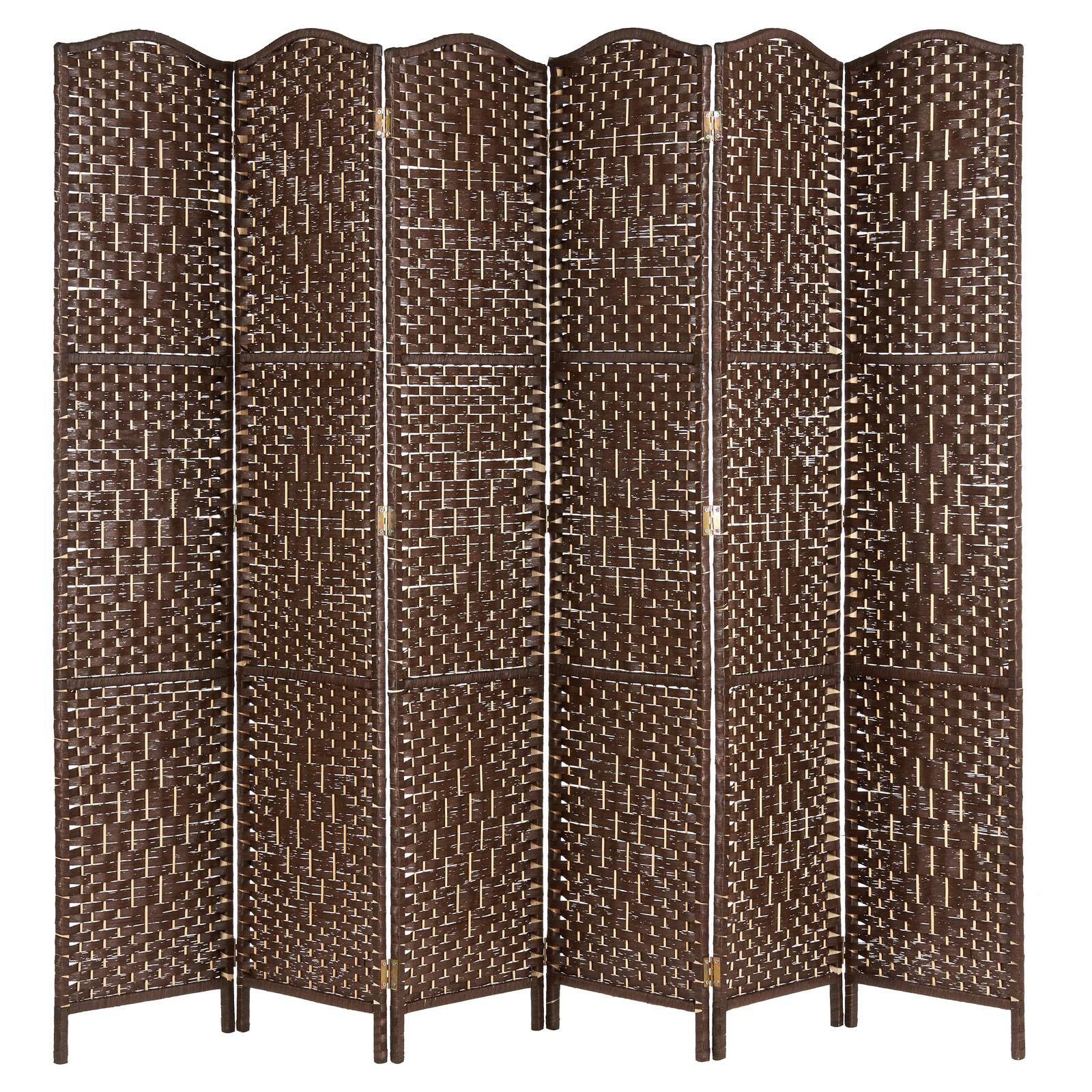 image-Hartleys Solid Weave Hand Made Wicker Room Divider - Brown - 6 Panel
