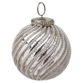 image-Hill The Noel Collection Jewel Swirl Bauble / Silver / Large