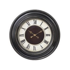 image-Lublin Wall Clock Round In Brown Frame With Gold Accents