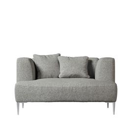 image-Swoon Kallas Love Seat in Rose Soft Wool With Silver Feet