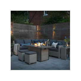 image-Kettler Palma Corner Rattan Outdoor Sofa Set with Firepit Table