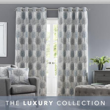 image-Jacquard Trees Teal Eyelet Curtains Teal (Blue)