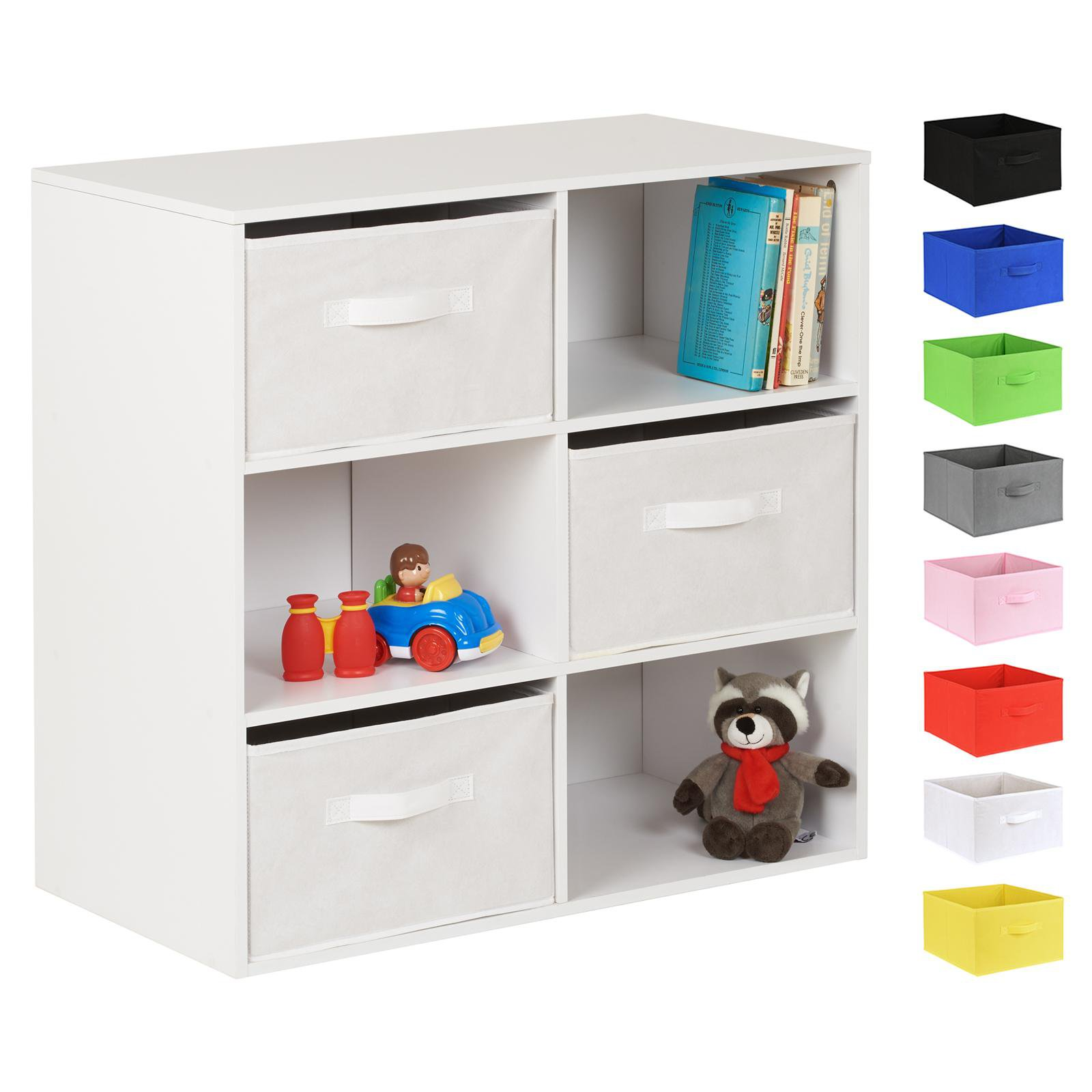 image-Hartleys White 6 Cube Kids Storage Unit & 3 Handled Box Drawers - White