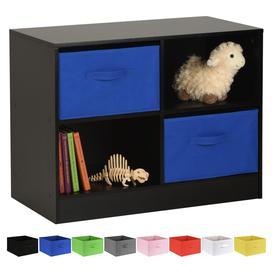 image-Hartleys Black 4 Cube Kids Storage Unit & 2 Handled Box Drawers - Blue