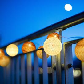 image-Fitts 10-Light LED String Lights Hykkon Light bulb colour: White/Grey/Brown