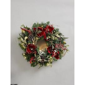 image-Traditional Pre-Lit Red Magnolia Christmas Wreath
