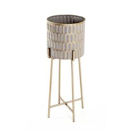 image-Etagere Plant Stand (Set of 2) Bloomsbury Market Colour: Taupe/Gold, Size: H59 x L20 x D20 cm