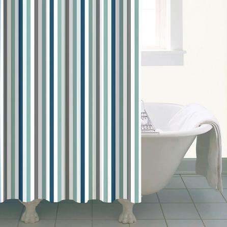 image-Nautical Bold Stripe Shower Curtain Blue / White