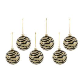 image-A by AMARA Christmas - Zebra Print Glass Bauble - Set of 6