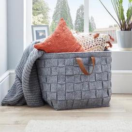 image-Grey Felt Storage Basket with Leather Handle Grey