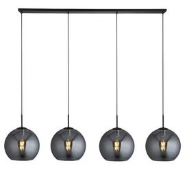 image-Amsterdam Bar 4 Pendant Light In Matt Black With Smoked Glass