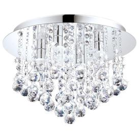 image-Eglo 94878 Almonte Semi Flush Bathroom  Light In Chrome And Crystals - Dia: 350mm