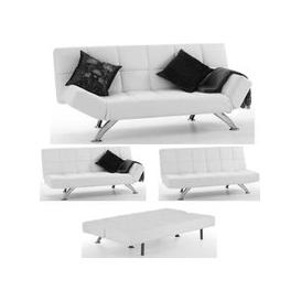 image-Venice Sofa Bed In White Faux Leather With Chrome Legs