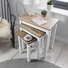 image-Canterbury Nest of Tables in White and Dark Pine
