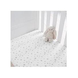 image-Silentnight Pack Of 2 Jersey Printed Stars Fitted Cot Bed Sheets