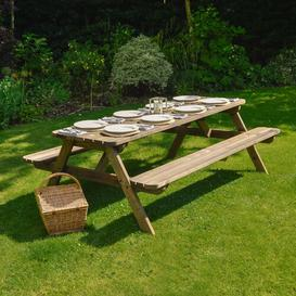 image-Oakham Rounded Picnic Bench Sol 72 Outdoor Finish: Rustic Brown, Table Size: 180cm L x 140cm W