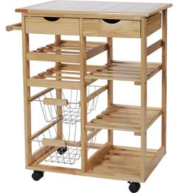 image-Argos Home Pine Tile Top Kitchen Trolley