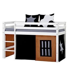 image-Basic Mid Sleeper Bed with Curtain Hoppekids Size: European Toddler (70 x 160cm)