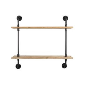 image-Black Metal and Pine Wall Shelf