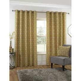 image-Brokaw Eyelet Room Darkening Curtains Three Posts Colour: Ochre, Panel Size: 117 W x 229 D cm