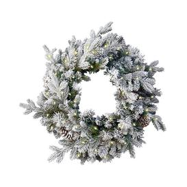 "image-""24"""" LED Snow Dorchester Wreath Green"""