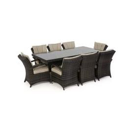 image-Maze Rattan Texas 8 Seat Rectangle Dining Set / Brown