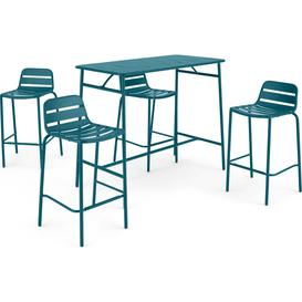 image-MADE Essentials Tice Garden Bar Set and 4 Stools, Teal
