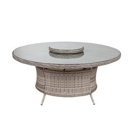 image-Large Round Rattan Garden Dining Table with Lazy Susan in Grey - Rattan Direct