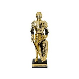 image-Knight Statue Sculpture In Black And Gold Finish