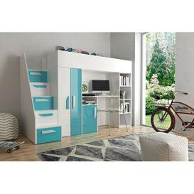 image-Farrar European Single Loft Bed Isabelle & Max Bed Frame Colour: Turquoise