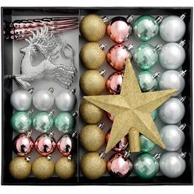 image-50 Piece Shatterproof Luxury Christmas Tree Ball Ornament Set Three Posts Colour: Gold/Silver/Pink/Blue