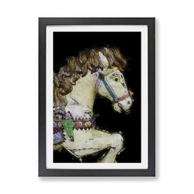 image-'Vintage Rocking Horse in Abstract' - Picture Frame Painting Print on Paper East Urban Home
