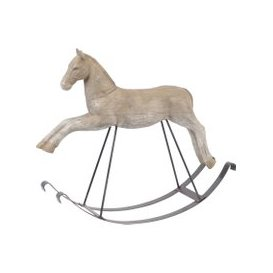 image-Libra Bastia Wood Effect Resin Rocking Horse Sculpture